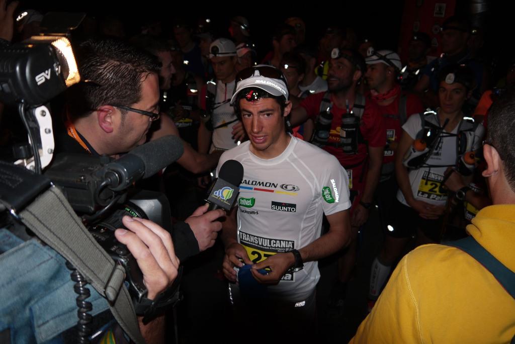 Kilian being interviewed pre Transvulcania La Palma