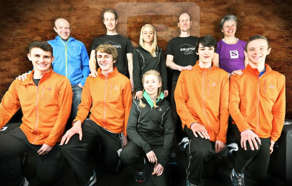 The Salomon Avenir squad, with their mentors: Back Row (L to R): Rob Samuel, Ricky Lightfoot, Emma Clayton, Rob Hope, Angela Mudge. Front Row (L to R): Nathan Jones, Bertie Houghton, Annabel Mason, James Hall, Andrew Lawler