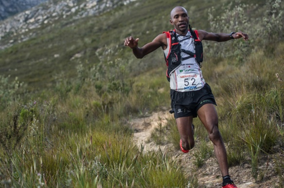 SA long distance trail champion, Thabang Madiba at the Outeniqua Traverse. He will be taking on Bernard Rukadza at the Richtersveld Wildrun™. Image by Kelvin Trautman